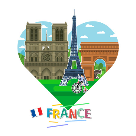 Concept of travel to France or studying French. French flag with landmarks in shape of heart. Flat design, vector illustration