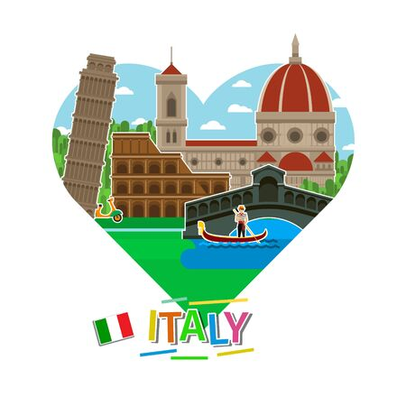 leaning tower of pisa: Concept of travel to Italy or studying Italian. Italian flag with landmarks in shape of heart. Tourism in Italy. Flat design, vector illustration Illustration