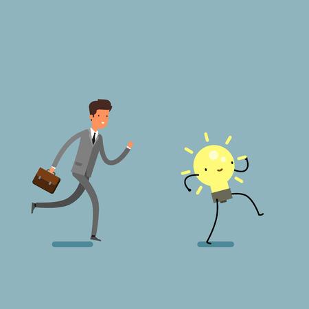 Concept of idea. Businessman running and try to catch idea. Flat design, vector illustration.