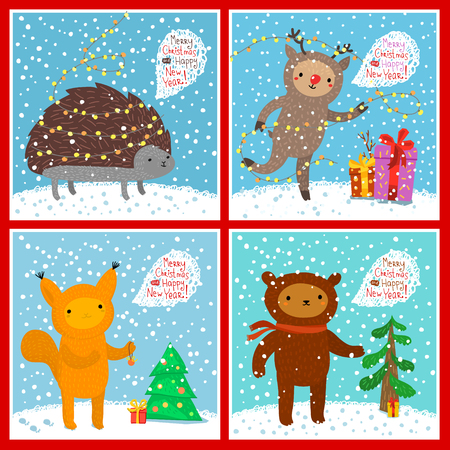 blab: Holiday illustration with a cute animals. Squirrel, bear, deer, hedgehog. Christmas card with nice cartoon characters. Winter greeting card.