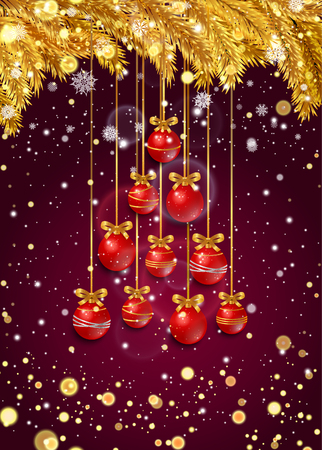 dark purple: New Year background with golden fir branches, confetti, snowflakes and red Christmas balls in the shape of a Christmas tree on dark purple. Vector illustration. Illustration