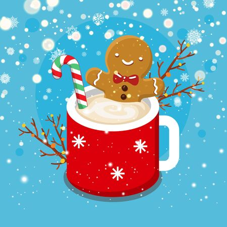 Christmas card with nice cartoon character. Gingerbread cookie man in a hot cup of cappuccino. Flat design, vector illustration 矢量图像