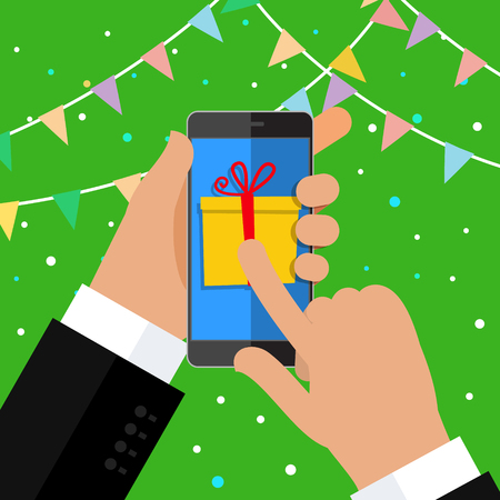 Concept of gift. Hand holding smartphone with gift box on the screen. Finger touch the button. Flat design, vector illustration.