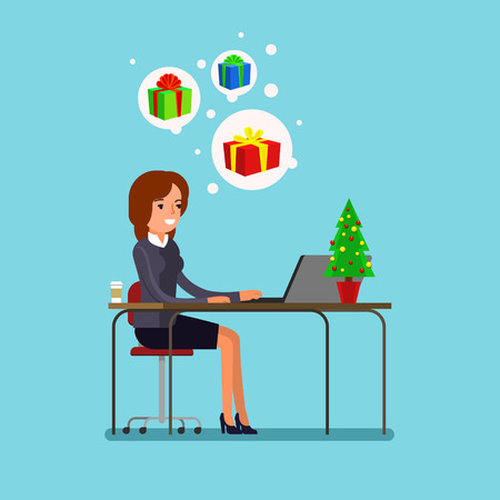 New year business concept. Business woman sitting at a table and selects gifts. Flat design, vector illustration.