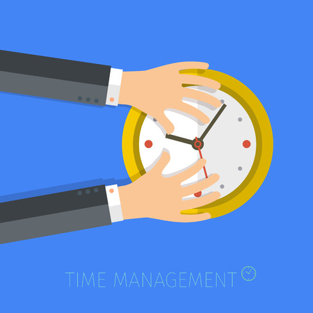 serious: Concept of time management. Flat vector illustration Illustration