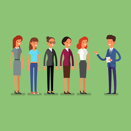 Business man choosing person for hiring. Job and staff, human and recruitment, select people, resource and recruit. Flat illustration Illustration