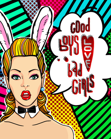 playboy: Woman face in pop art style with Bunny ears. Illustration