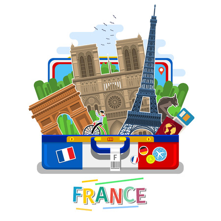 Concept of travel or studying French. Stock Illustratie