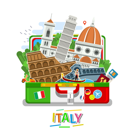 leaning tower of pisa: Concept of travel or studying Italian. Illustration