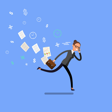 Business woman running and hurry up. Illustration