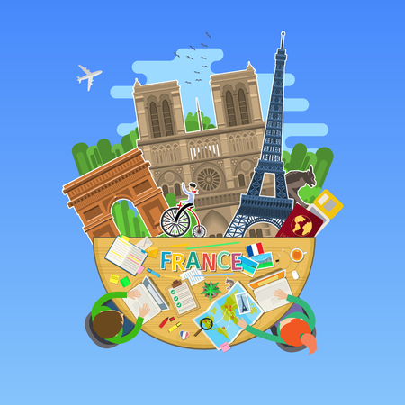 Concept of travel or studying French. Illustration