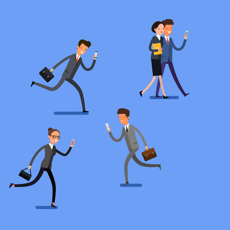 overuse: Business concept. Cartoon people with mobile phones