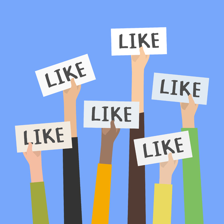 Social network likes, approval, customers feedback concept.