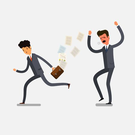 bawl: Angry businessman shouting at his workers Illustration