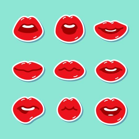 sound bite: Set of flat icons with lips. Illustration
