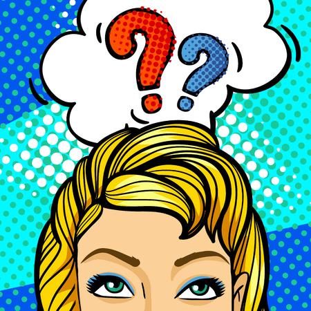 Pregunta cantar. rostro de mujer en el estilo del arte pop. Ilustración de vector