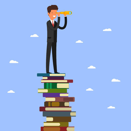 Businessman stands on stack of books. Illustration