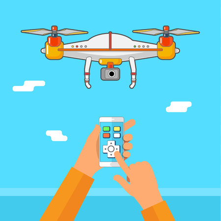 Drone control via phone. Quadcopter aerial  with camera