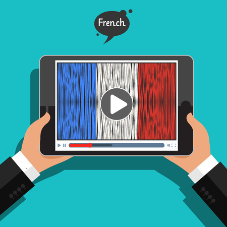 Concept of learning languages. Study French.