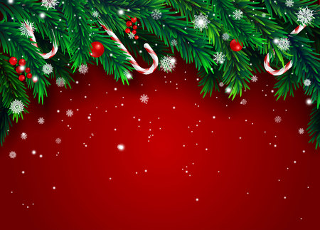 New Year background with fir branches and snowflakes