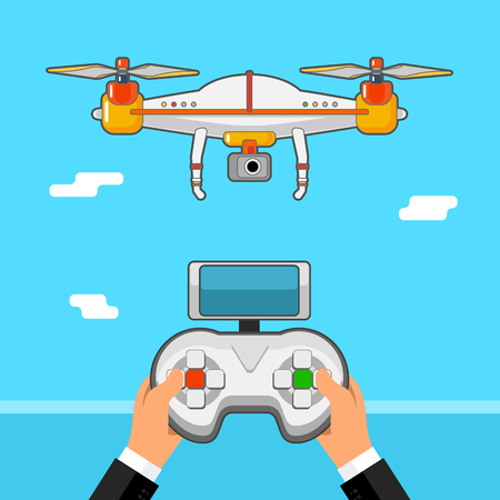Drone control via Remote . Quadcopter aerial with camera Illustration