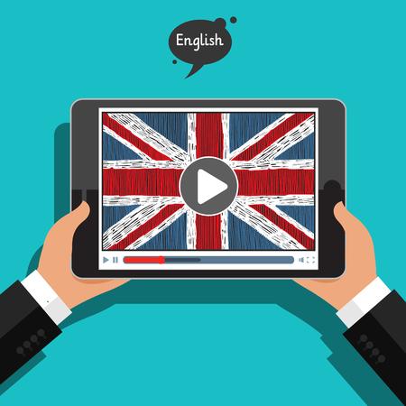 Concept of learning languages. Study English. Illustration