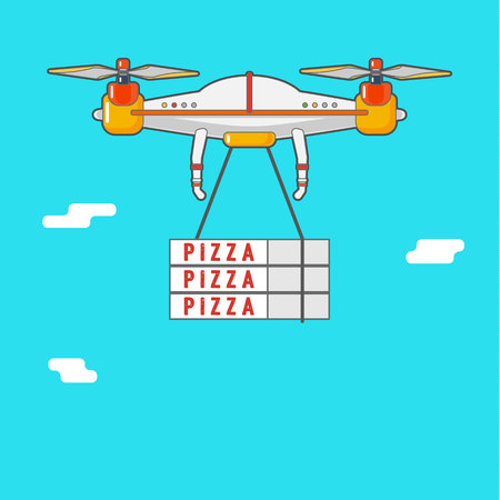 Quadcopter aerial drone. Delivery of cargo. Illustration