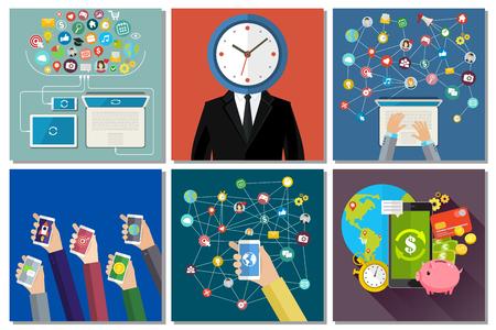 Social media, technology, messaging and time management concept. Flat design, vector illustration