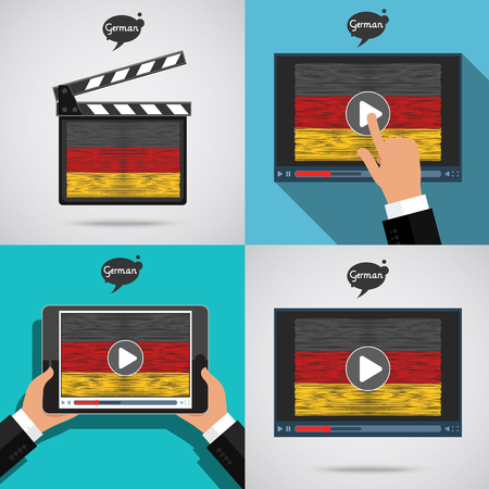 cinema screen: Concept of learning languages. Study German set.