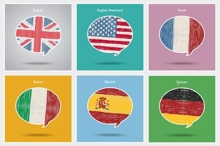 Concept de voyage ou d'étude de langues. Vecteurs