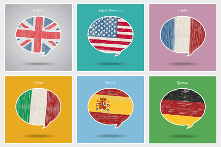 Concept of travel or studying languages. Vector Illustration