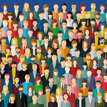 overcrowded: The crowd of abstract people.