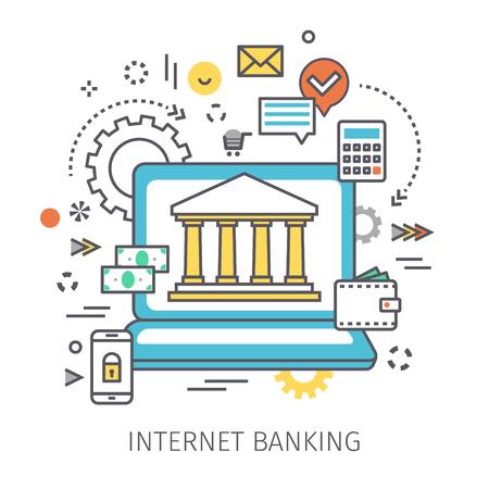 cash money: Concept of internet banking. Illustration
