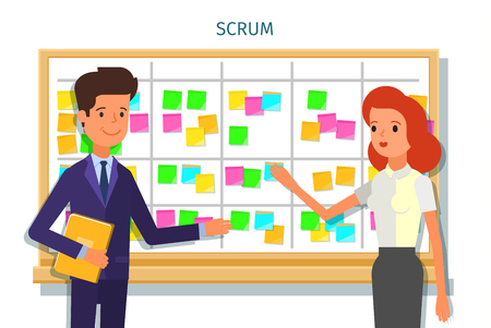 Scrum task board whith sticky note cards.