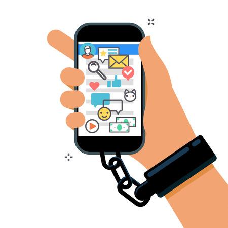 Konzept der Smartphone-Sucht Standard-Bild - 80051335