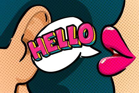 팝 아트 스타일의 Hello 메시지 스톡 콘텐츠