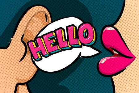 Hello Message in pop art style