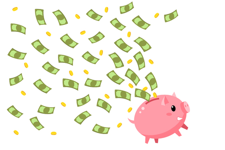 Concept of save money. Happy piggy bank with flying money. Flat design, vector illustration. Vectores
