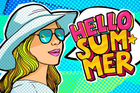 Hello Summer Message in pop art style Ilustracja