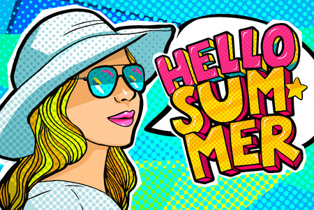 Hello Summer Message in pop art style Illustration