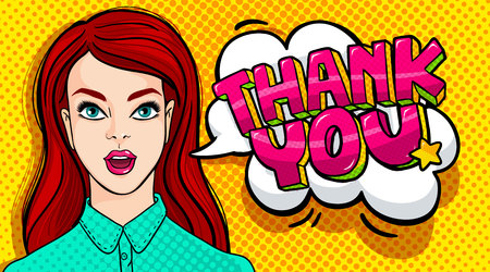 Thank you Message and beautiful young woman with open mouth in retro pop art style. Vector illustration. Vectores