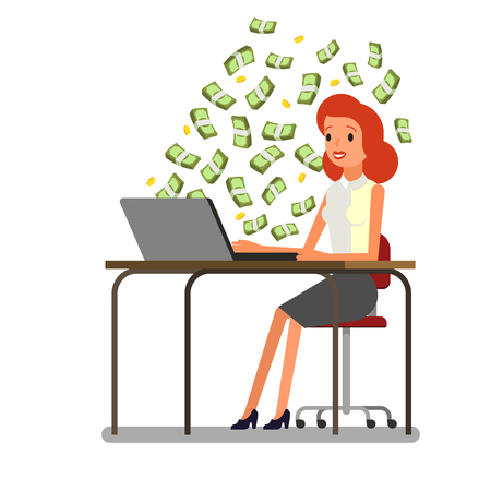 Concept of big money. Make money on the Internet. Business woman is sitting in front of the computer with money banknotes is flying around her. Flat design, vector illustration.