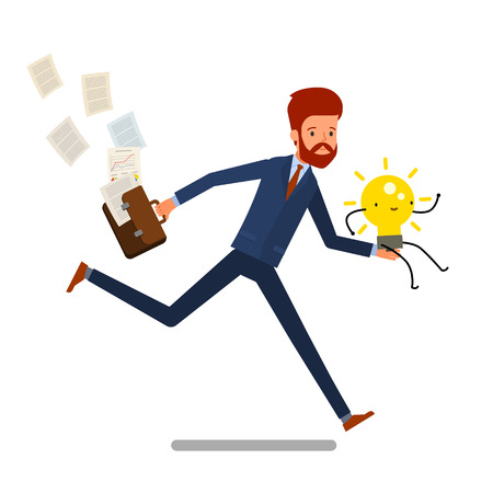 Concept of idea. Cartoon business man running with light bulb. Flat design, vector illustration.