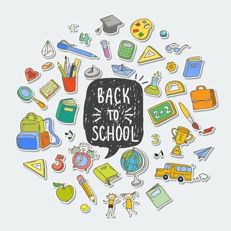 Concepto de educación. Volver al fondo de la escuela. Dibujo a mano alzada elementos escolares de color. Ilustración de vector