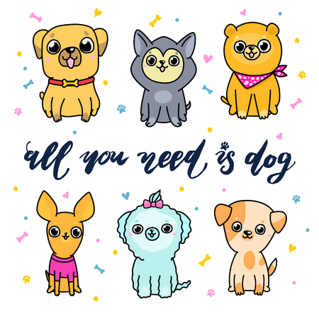 Set of cartoon dogs. All You need is dog lettering.
