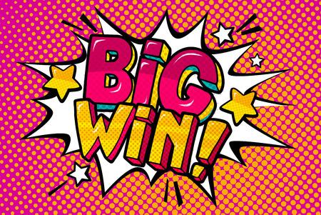 Big Win Message w stylu pop-artu Ilustracje wektorowe