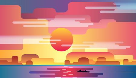Summer landscape, beautiful marine sunset. Flat design vector illustration.