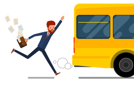 Concept of lateness. Business man in suit is running after outgoing bus. Flat design, vector illustration. Illustration