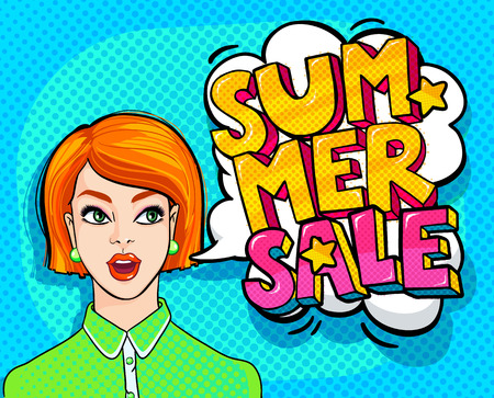girl mouth open: Summer Sale Message