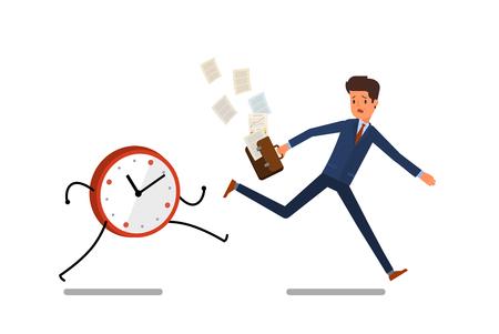 modern business: Time management concept. Businessman running away from watches. Flat design, vector illustration.